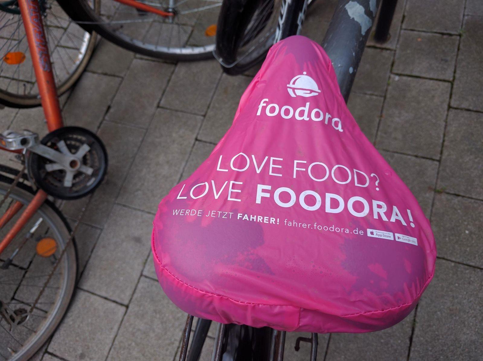 Fahrrad-Werbung für Foodora in Leipzig