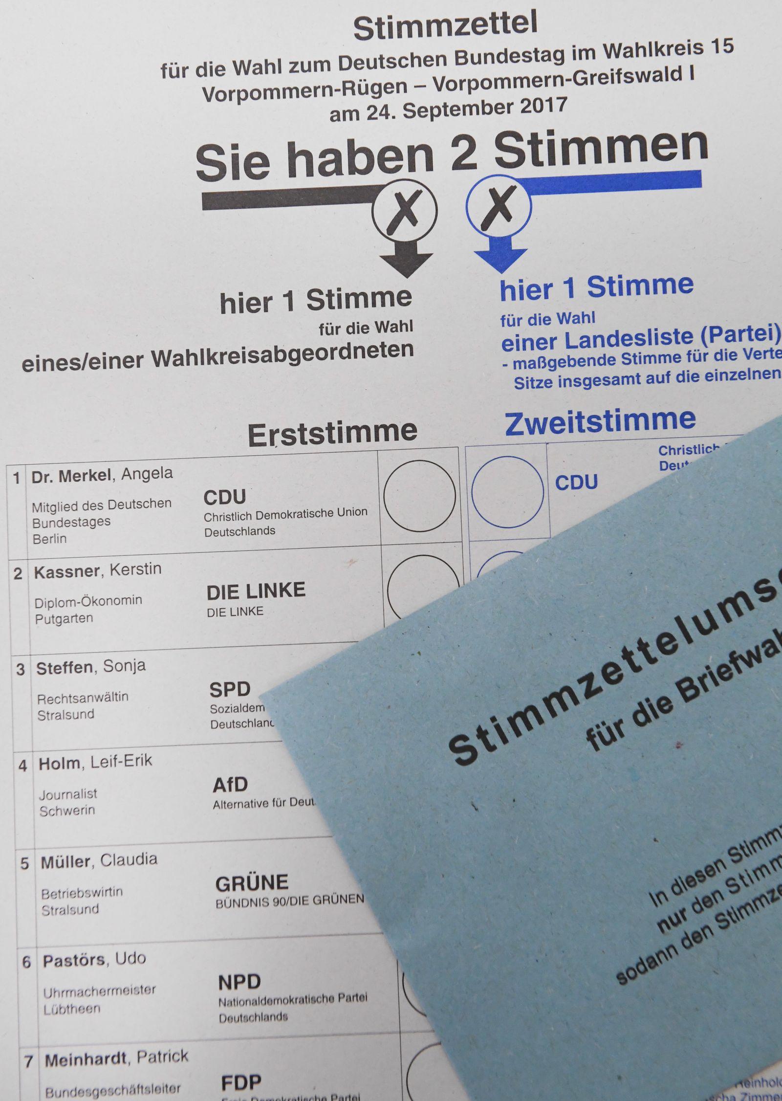 Wahlzettel Bundestagswahl