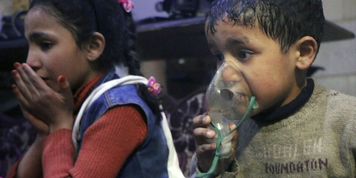Kinder nach einem mutmaßlichen Giftgas-Angriff in Ost-Ghuta, Syrien