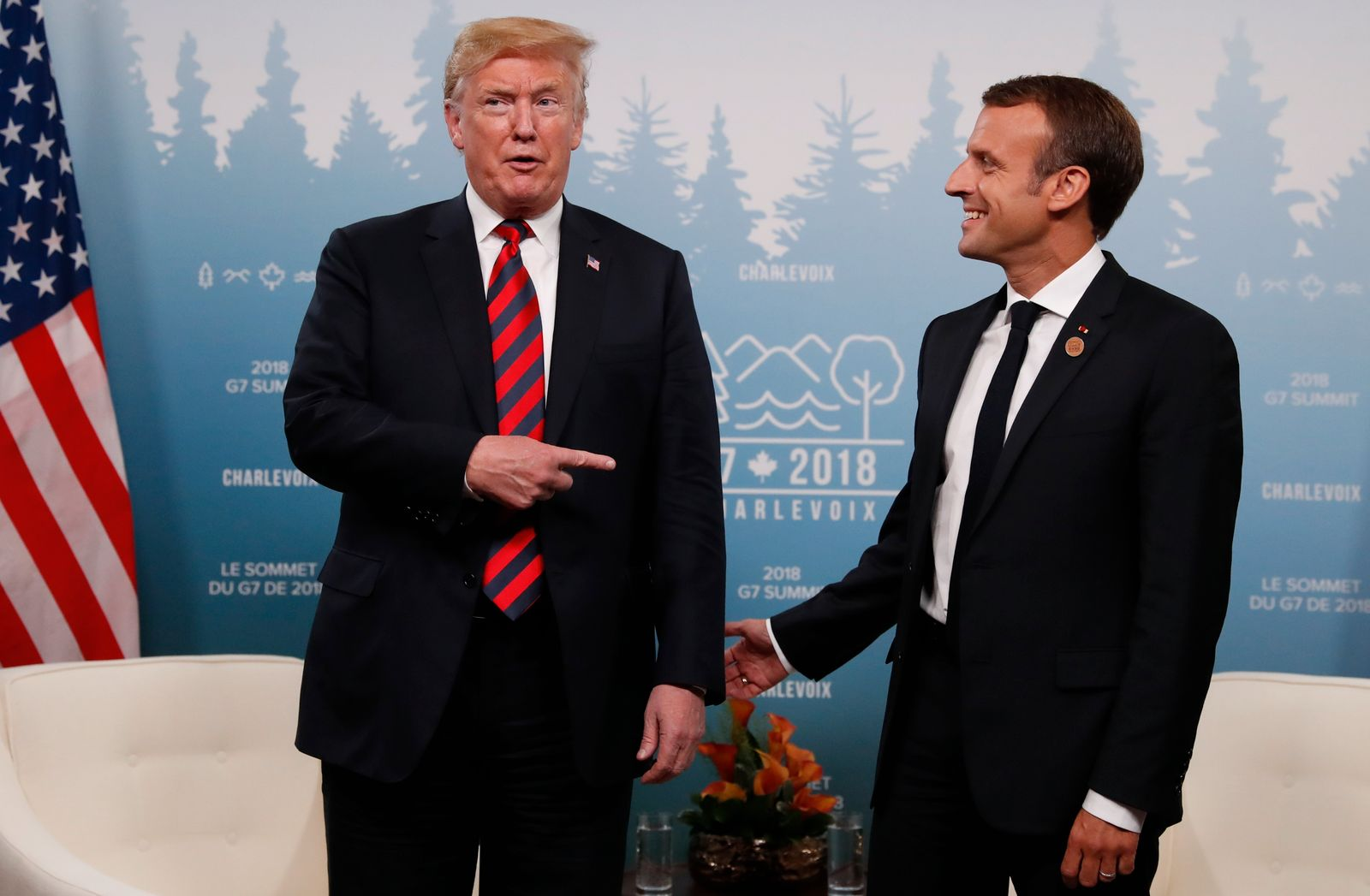 Reuters Trump Macron Hands G7