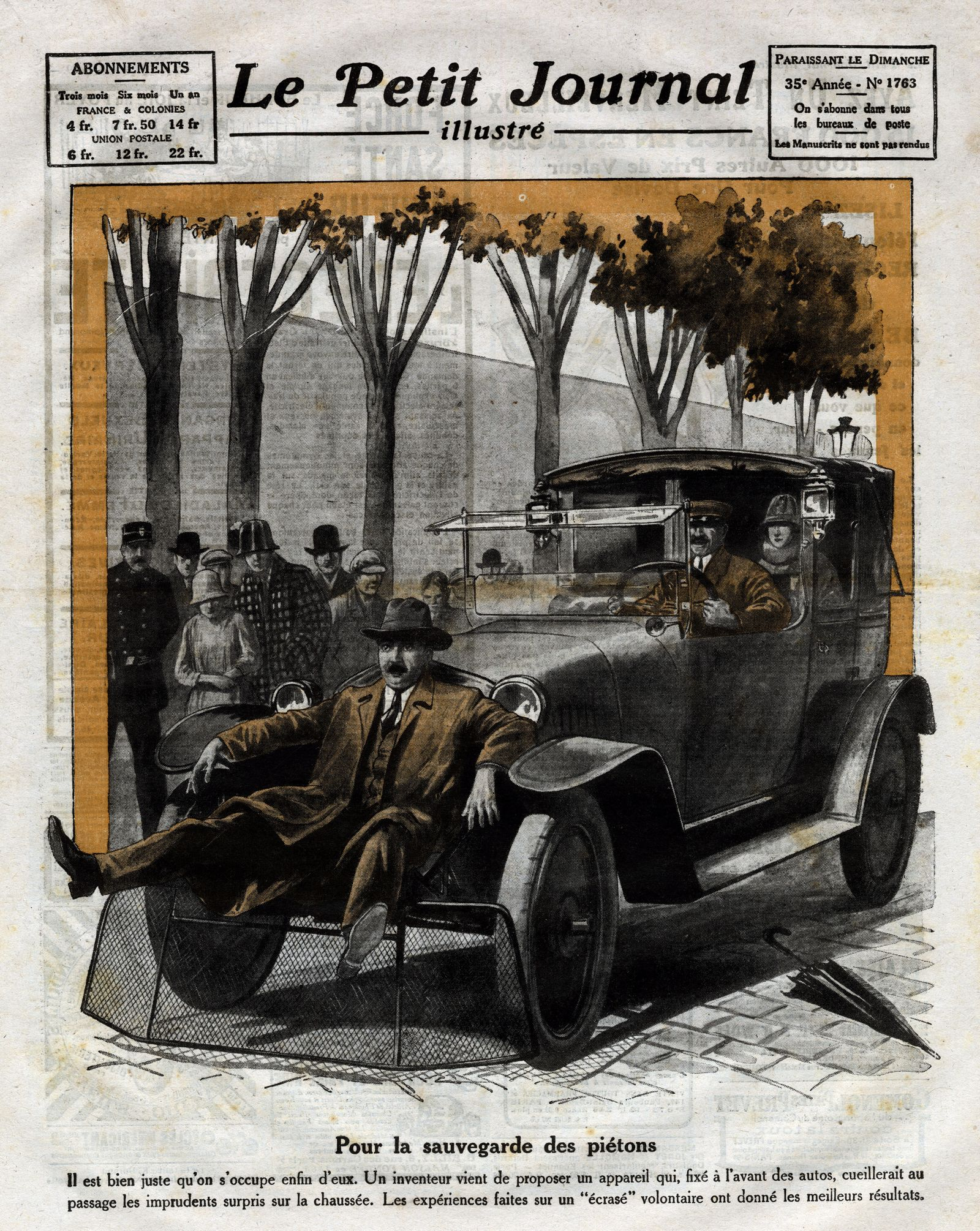 Pedestrian Safety, Invention constiting of a large metal basket fixed to the front bumper of a car, designed to collect careless pedestrians and prevent them from getting hurt on the road, Frontpage of French newspaper Le Petit Journal Illustre 1924,