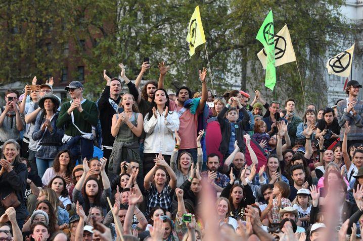 Die Menschen in London feierten Thunberg wie einen Popstar