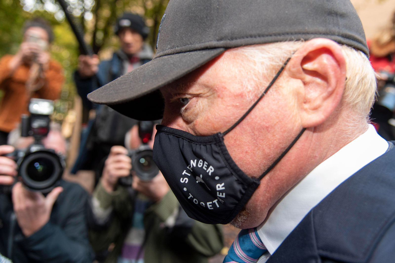 October 22, 2020, London, United Kingdom: Former tennis professional Boris Becker (52), wearing a facemask leaves South