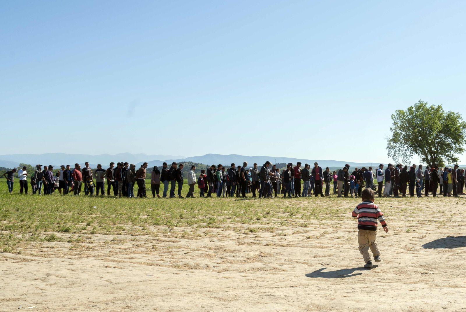 Flüchtlinge Grenze Griechenland - Mazedonien