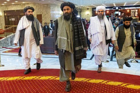 Taliban-Unterhändler auf einer Konferenz in Moskau im März