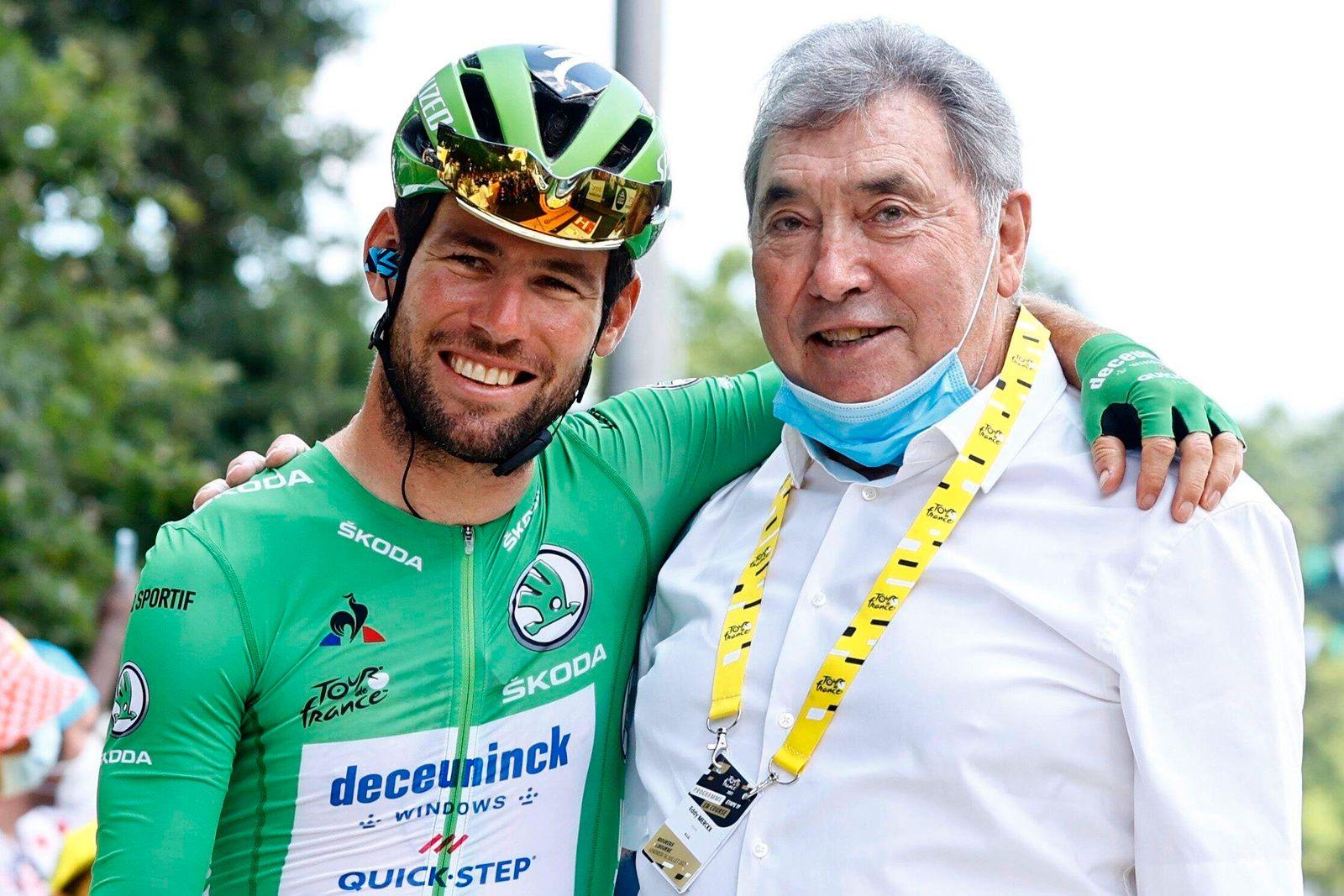 LIBOURNE, FRANCE - JULY 16 : CAVENDISH Mark (GBR) of DECEUNINCK - QUICK-STEP & MERCKX Eddy (BEL) cycling legend of Belg