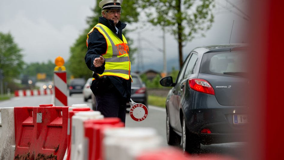 Grenzkontrolle in Mittenwald, Bayern
