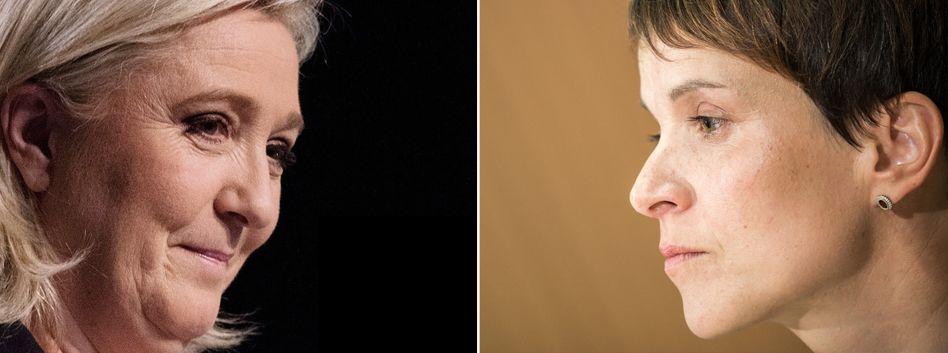 Front-National-Politikerin Le Pen, AfD-Frau Petry: Aufmerksamer Blick nach Frankreich