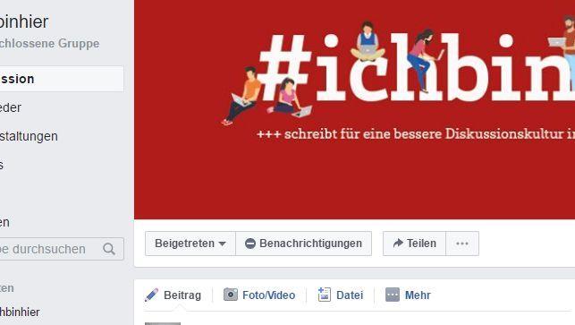 Facebook-Gruppe #Ichbinhier