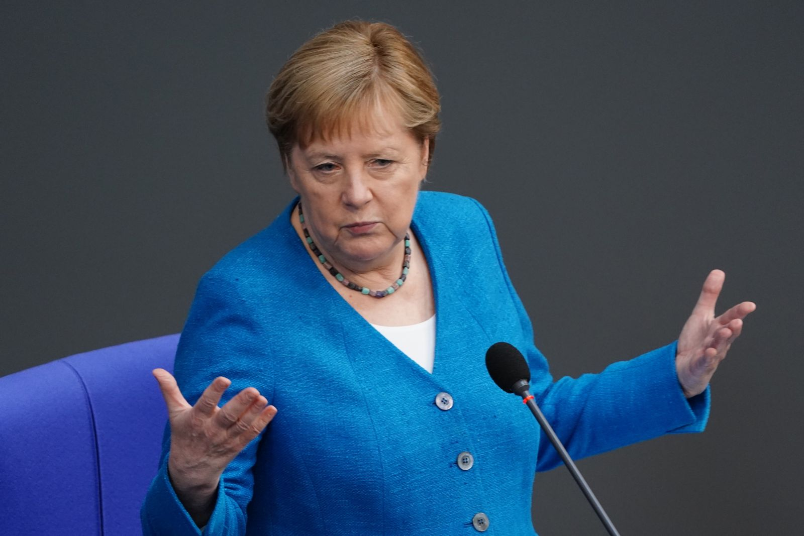 German Chancellor Angela Merkel answers questions to the German parliament