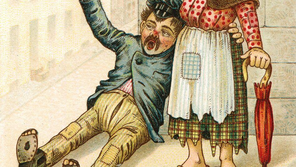 Trunksucht-Karikatur: Branntweinkonsum viermal höher als heute