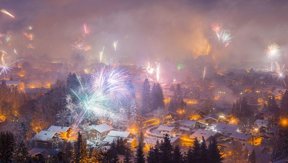 Silvesterfeuerwerk in Oberstdorf