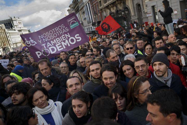 Kundgebung der Podemos-Bewegung in Madrid: Tsipras als Vorbild