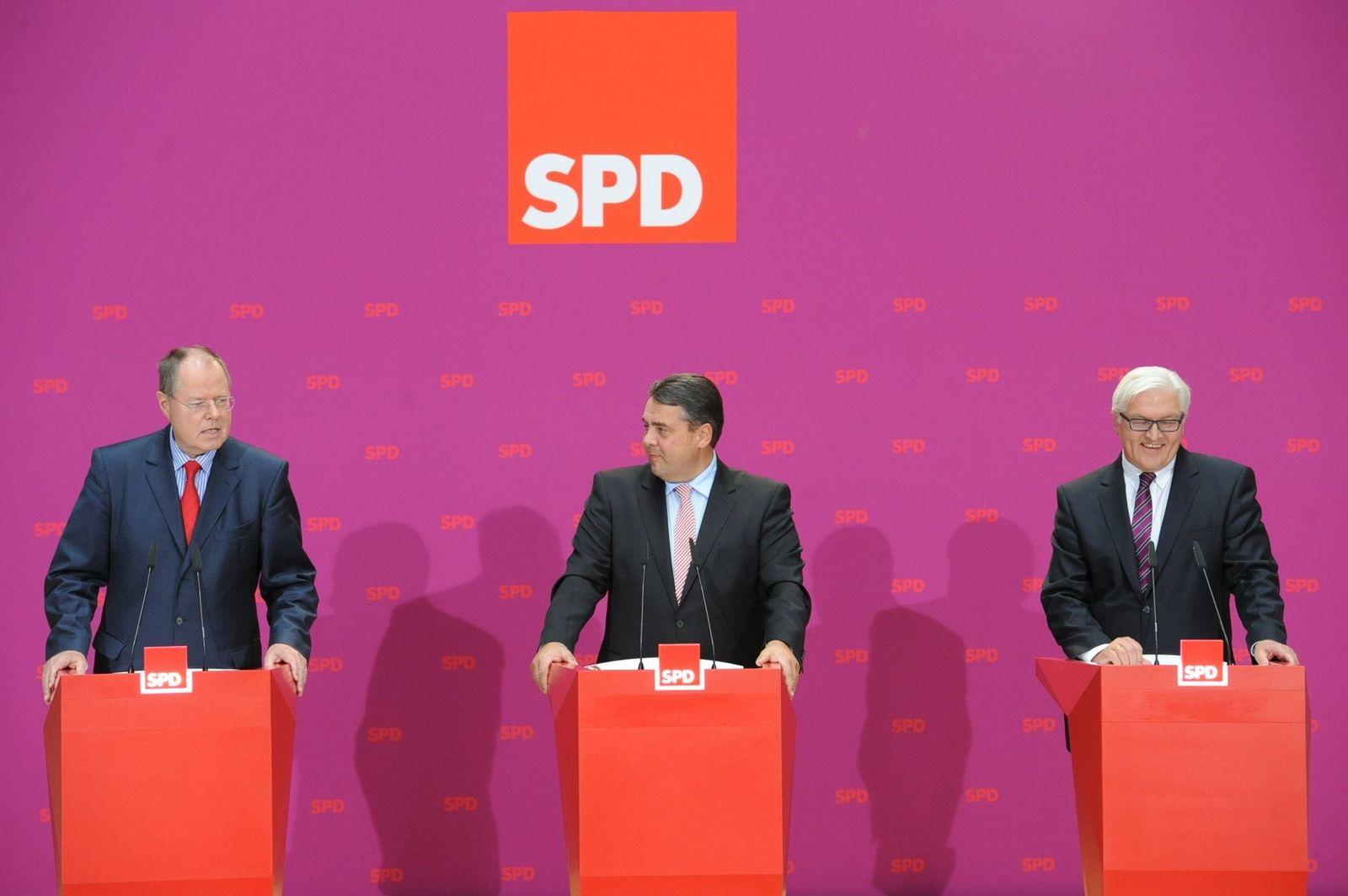Steinbrück / Gabriel / Steinmeier / PK
