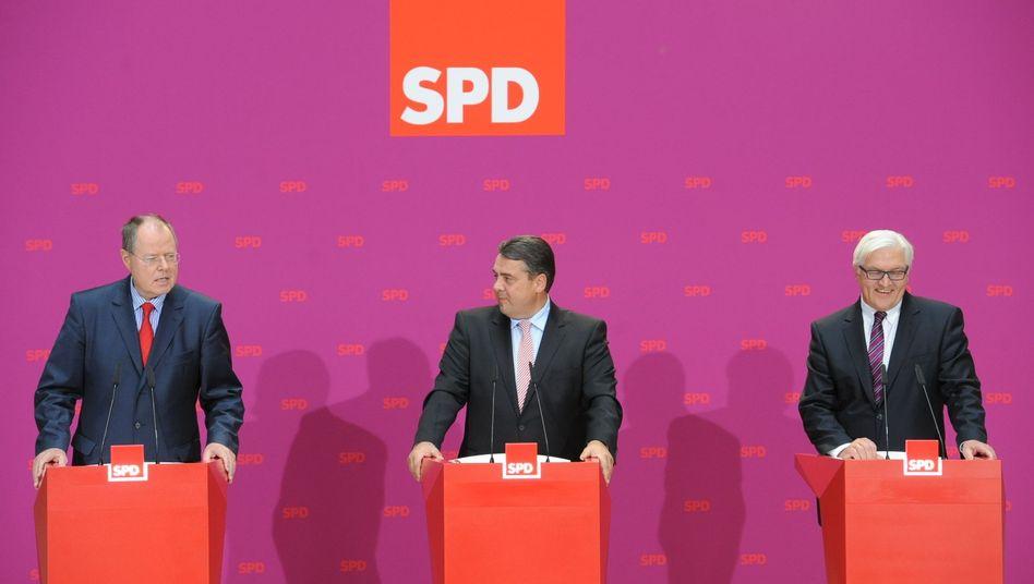 """SPD-Troika Steinbrück, Gabriel, Steinmeier (v.l.): """"Steinbrück ist der beste Kandidat"""""""