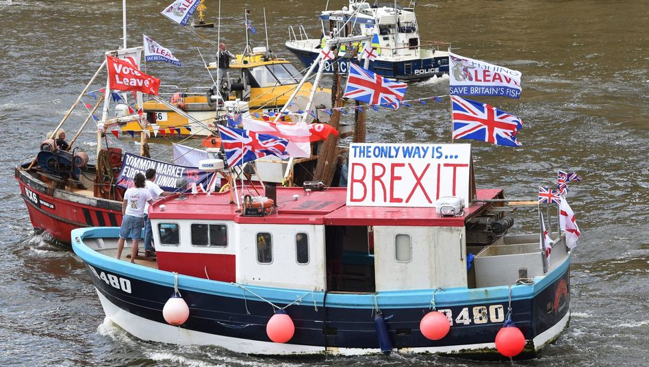 Britische Fischerboote machten 2016 in London Werbung für den Austritt aus der EU