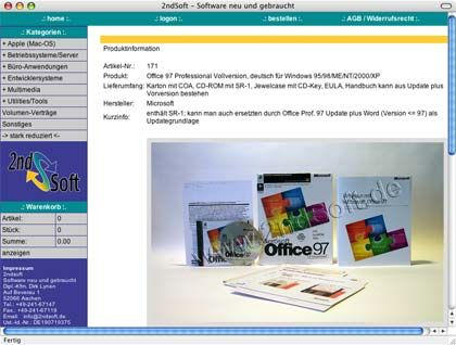 """Online-Händler für Gebraucht-Software (Screenshot): """"Lizenzpflege ist eher lästig"""""""