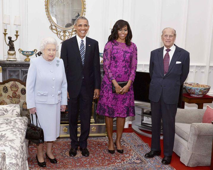 Die Queen und ihr Mann mit Barack Obama und der First Lady