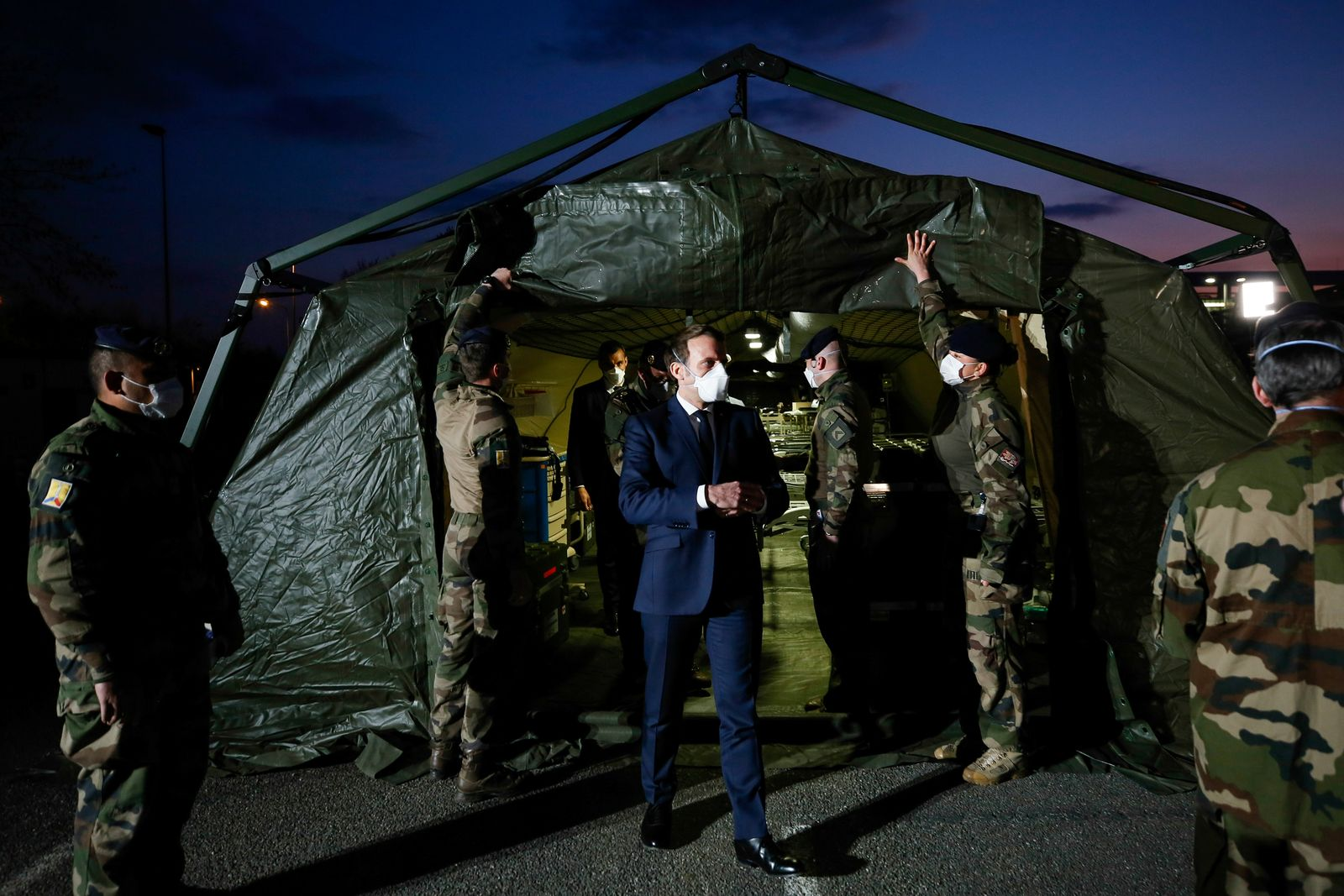 French President Macron visits a military field hospital in Mulhouse