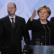 Chancellor Angela Merkel, Peer Steinbrück and other ministers discuss a government bailout of Opel, one of Europe's largest car manufacturers, on November 17.