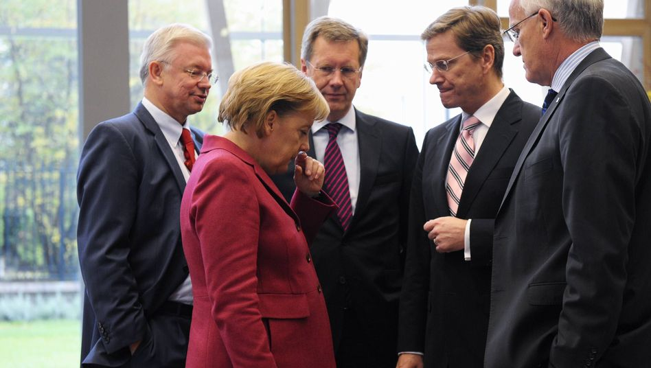 "CDU-Chefin Merkel, Ministerpräsidenten Koch, Wulff, FDP-Chef Westerwelle: Sorge vor dem ""Niemandsland"""