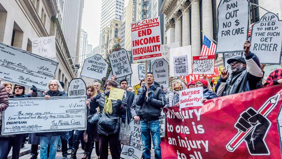 Protest gegen die US-Steuerreform in New York