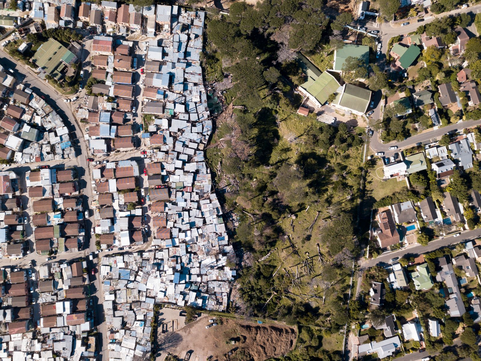 Aerial overhead township and middle class houses in South Africa