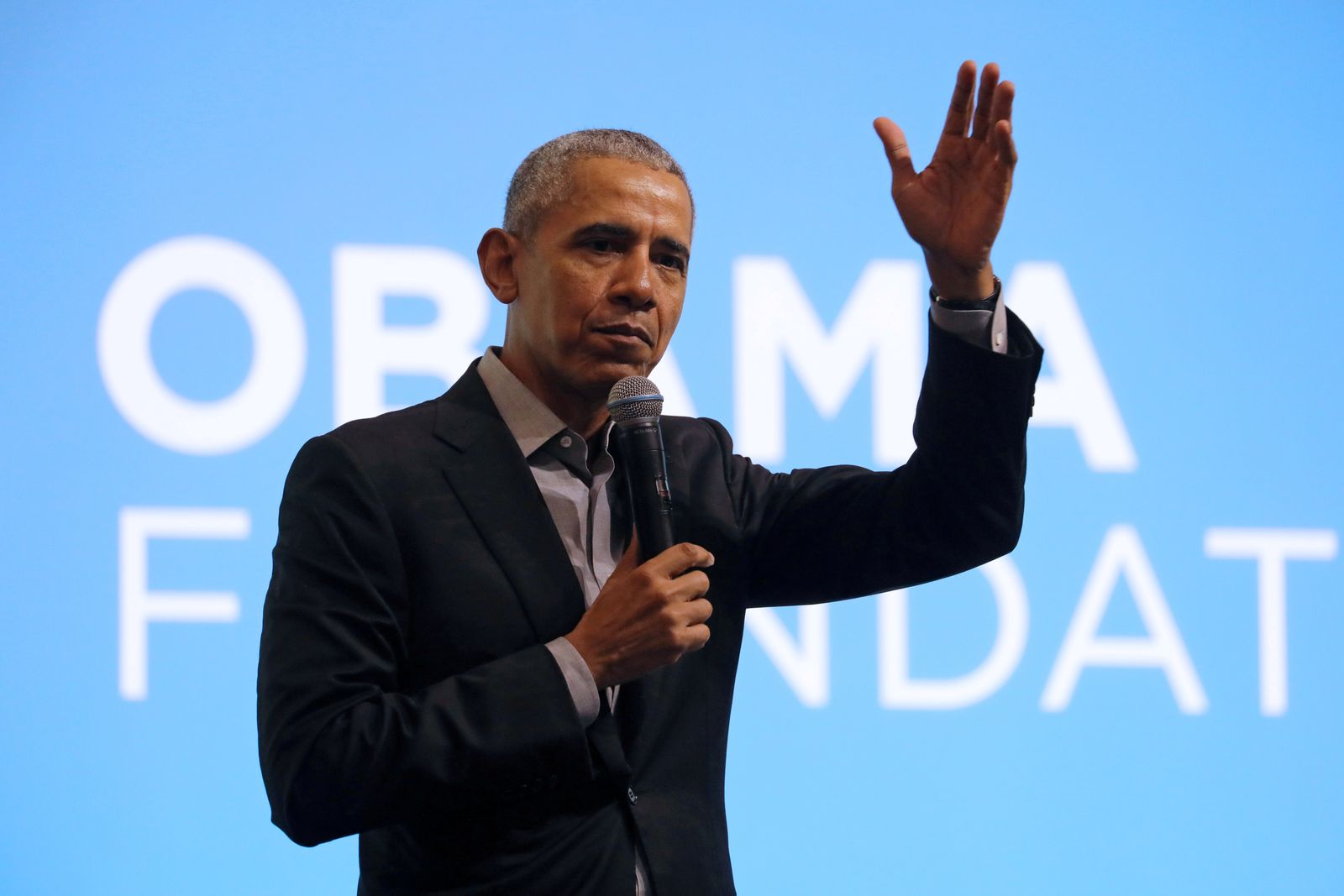 FILE PHOTO: Former U.S. President Barack Obama speaks during an Obama Foundation event in Kuala Lumpur