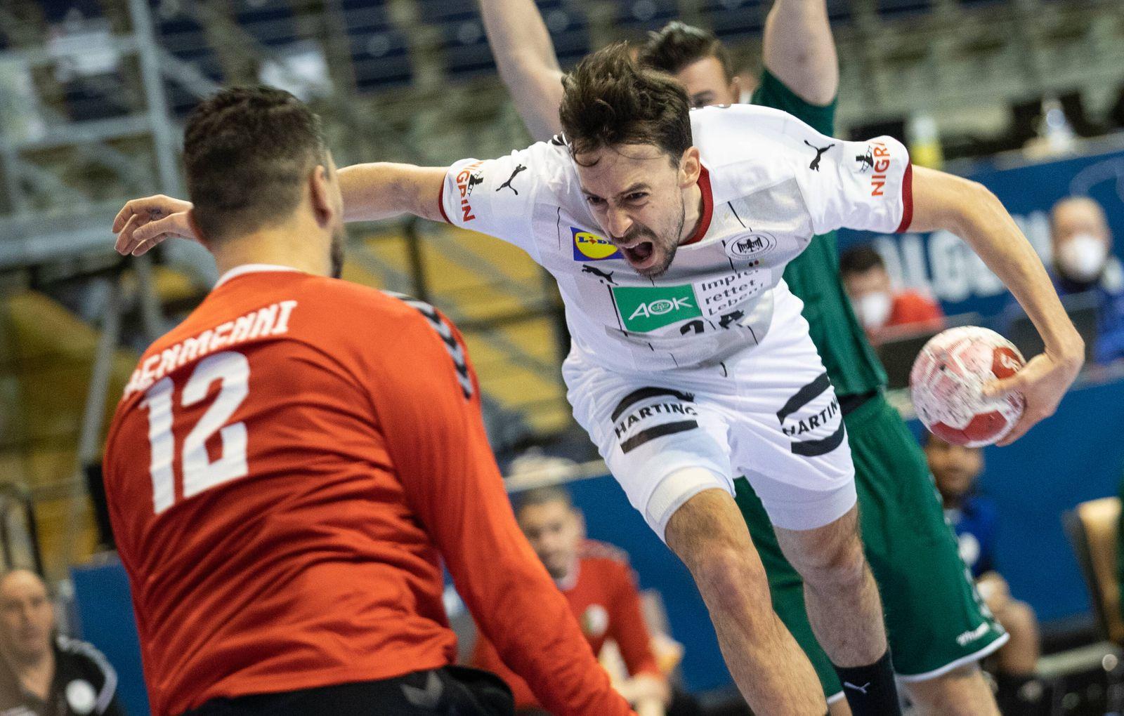 Berlin, 14.03.2021, Handball: Olympia-Qualifikation der Maenner, Algerien - Deutschland, Max-Schmeling-Halle. Deutschla