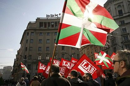 Basque nationalists demonstrate in the Basque city of Bilbao. Spain is worried the separatists could be inspired by the example of Kosovo.