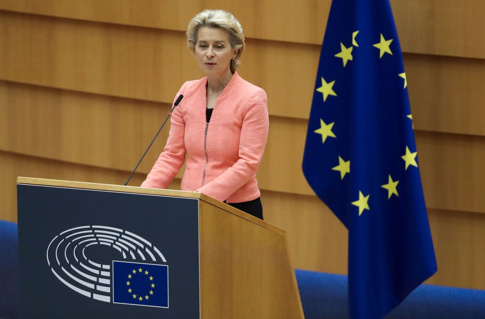 European Commission President Ursula von der Leyen addresses her first State of the European Union speech during a plenary session of the European Parliament, in Brussels