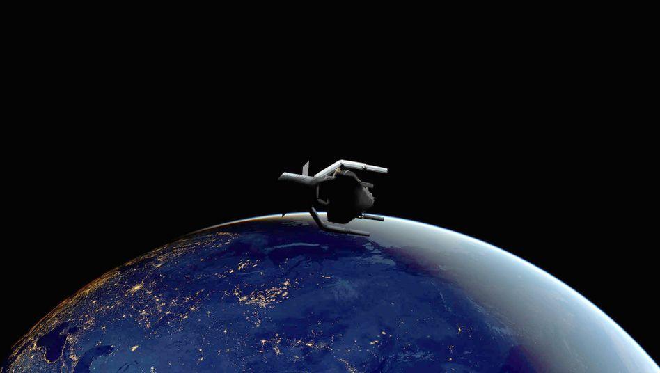 """Satellit der Raumfahrtmission """"ClearSpace-1"""" (Grafik): Die vier Greifarme sollen Trümmerteile einfangen und zum Verglühen in die Erdatmosphäre schleppen"""