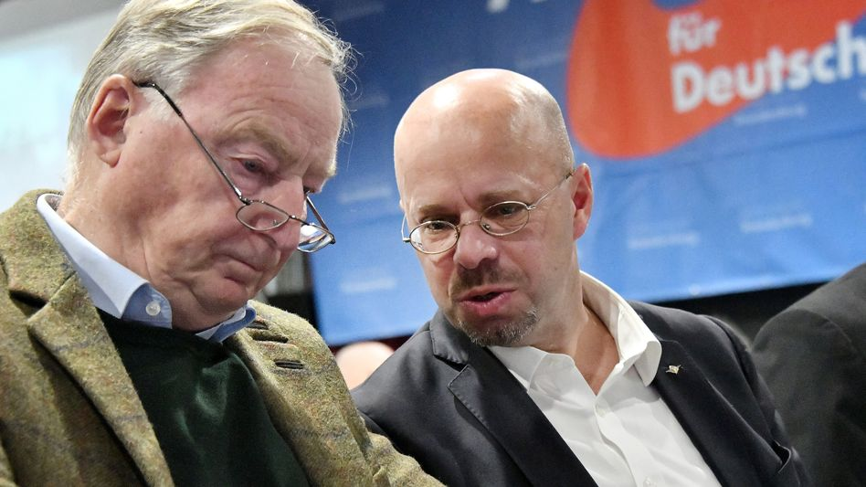 AfD co-leader Alexander Gauland chatting with Brandenburg AfD chief Andreas Kalbitz (right).