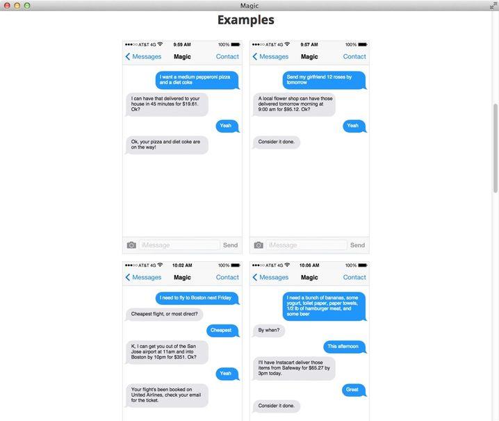 Beispiel-Nachrichtenaustausch: Im linken Dialog wurde eine Pizza samt Cola bestellt