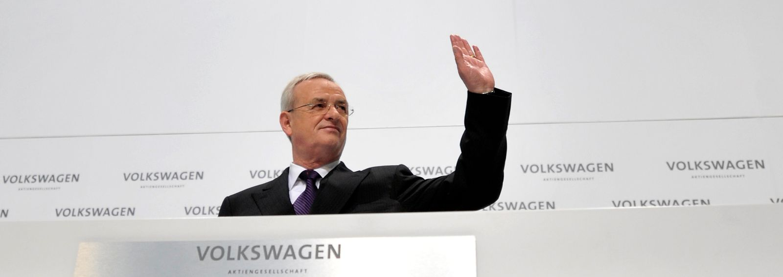 File photo of Volkswagen AG's CEO Winterkorn gesturing as he awaits the start of the annual news conference in Wolfsburg