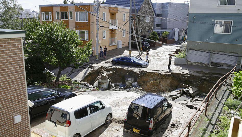 Erdbebenschäden in Sapporo auf Hokkaido