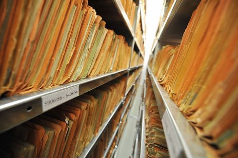 The Stasi archives in Berlin: Tens of thousands of former secret police are working as civil servants in Germany, a newspaper has revealed.