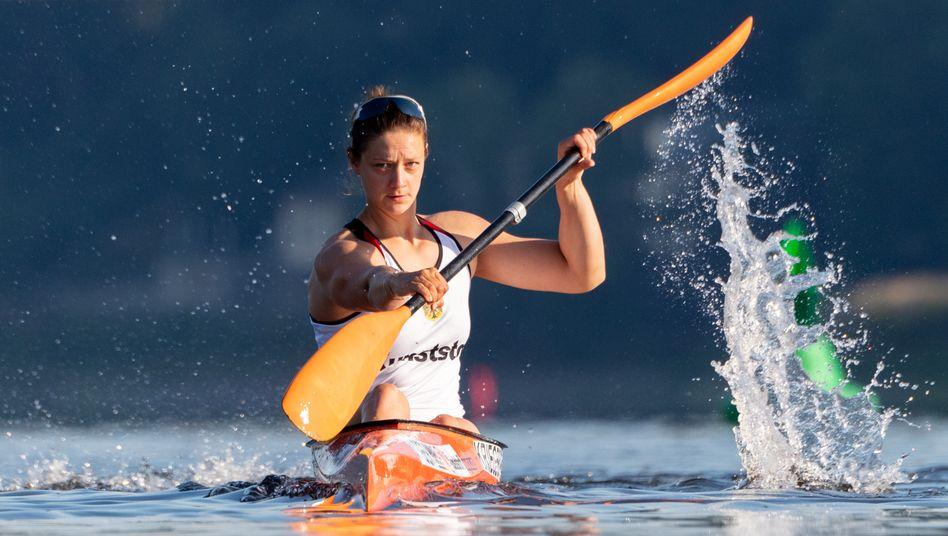 Die Kanu-Olympiazweite Steffi Kriegerstein beim Training (Archivbild)