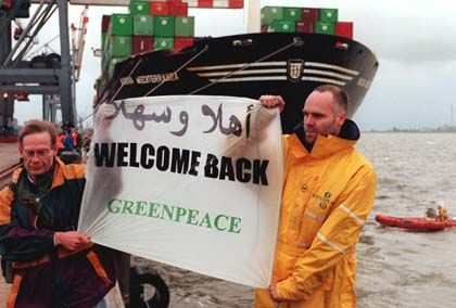 Greenpeace protesting against a shipment of toxic waste.