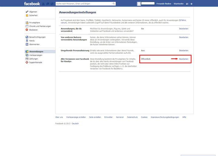 Alte Facebook-Apps: Für ältere Endgeräte muss man noch mal extra das Datenschutzniveau einstellen