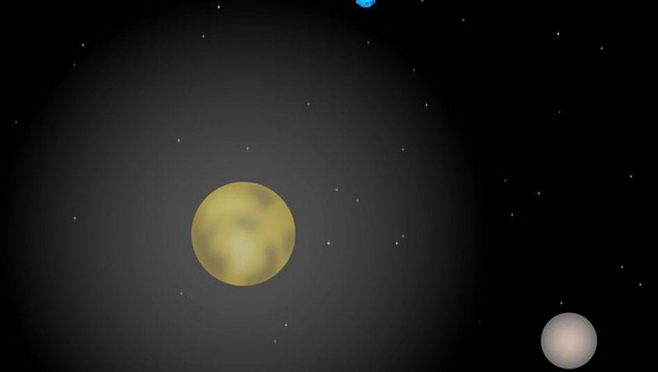 Pluto und sein Mond Charon (Illustration): Gashülle deutlich größer als angenommen