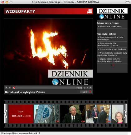 Brennendes Hakenkreuz: Neonazi-Party in Polen (Screenshot von www.dziennik.pl)