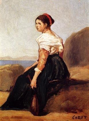"""Entwendetes Bild: Jean-Baptiste Camille Corots """"Sitzende Frau, eine Mandoline haltend"""""""