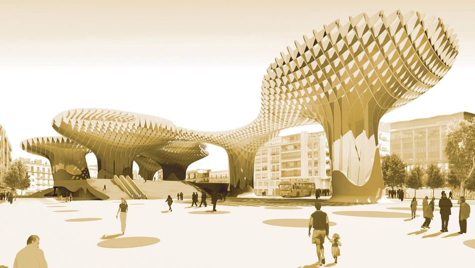 "A model of the planned ""Metropol Parasol"" in Seville, which being built with components that are glued together."