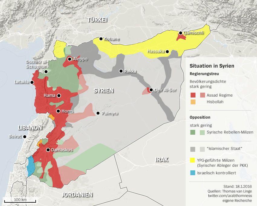 Karte Syrien - Gebiete IS Regierung Opposition - Stand: 18.01.2016