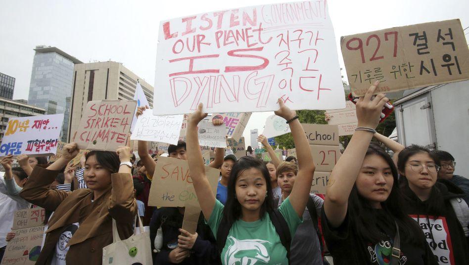 Demonstration für den Klimaschutz in Seoul, Südkorea