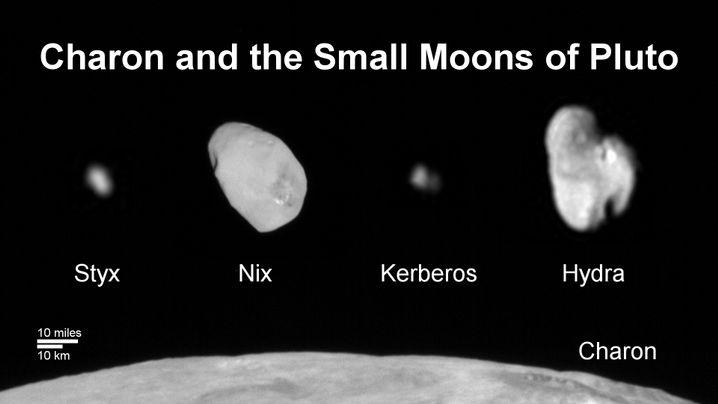 Pluto und Monde: Die Aufnahme ist aus Einzelfotos zusammengesetzt