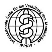 Emblem der Ärzte gegen den Atomkrieg (IPPNW): Warnung vor der unterirdischen A-Bombe