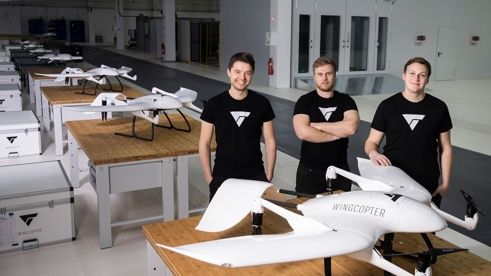 Wingcopter-Gründer Ansgar Kadura, Jonathan Hesselbarth, Plümmer