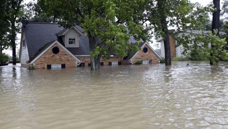 Überschwemmtes Haus in Texas